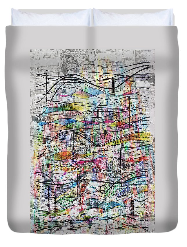 Waves Particles Duvet Cover featuring the drawing Waves And Particles by Andy Mercer