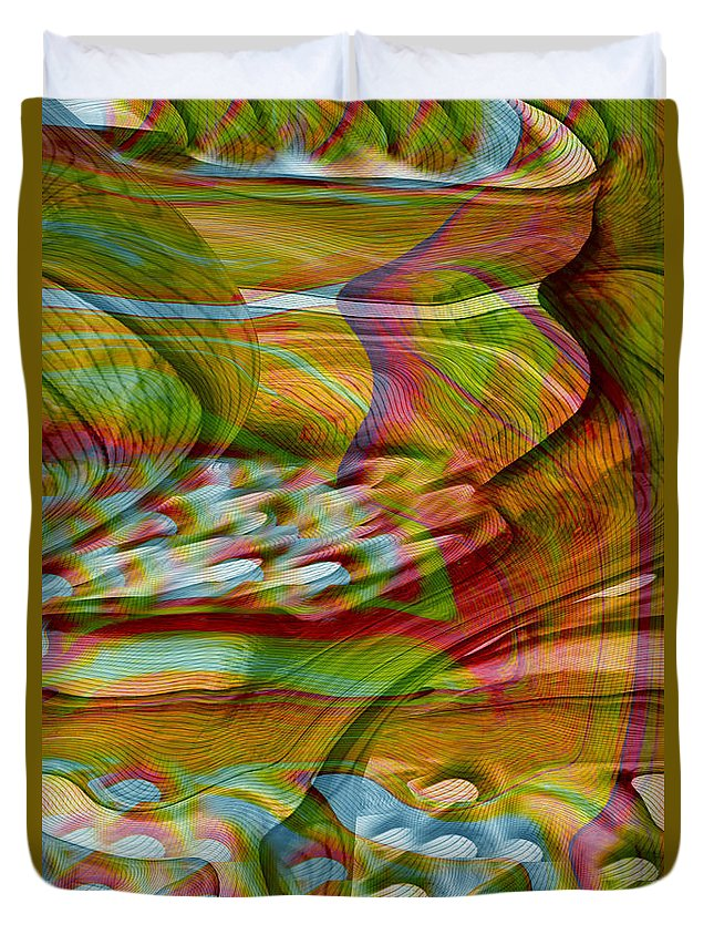 Abstracts Duvet Cover featuring the digital art Waves And Patterns by Linda Sannuti