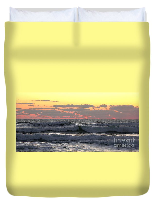 Wave Prints Duvet Cover featuring the photograph Waves At Dawn 5-3-15 by Julianne Felton