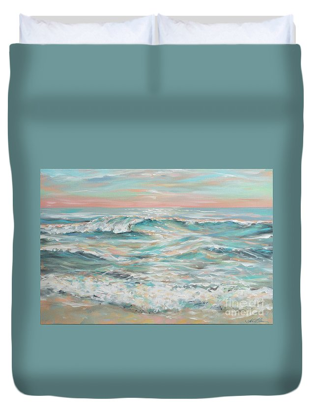 Ocean Duvet Cover featuring the painting Waves At Dusk by Linda Olsen