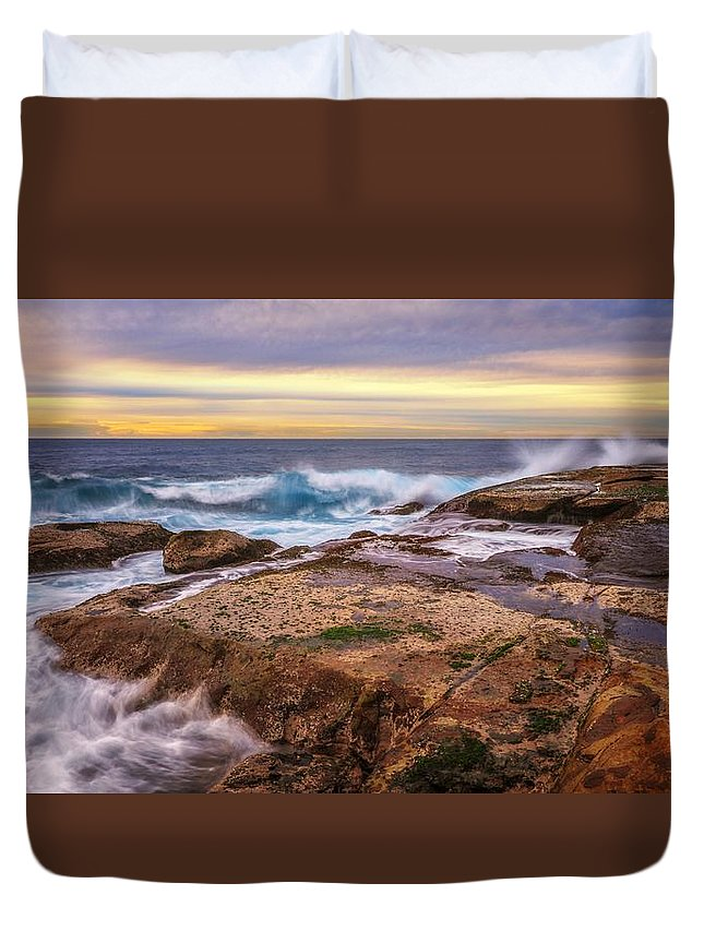 Duvet Cover featuring the photograph Waves Breaking Up On Rocks In Sydney Australia by David Trent