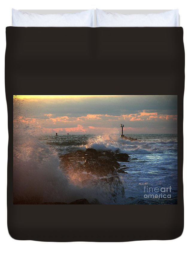 Jetty Duvet Cover featuring the photograph Waves Crashing Over The Jetty by Julianne Felton