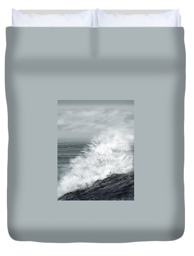 Seascape Duvet Cover featuring the painting Waves Crashing The Rocks In Ireland by Anne Norskog