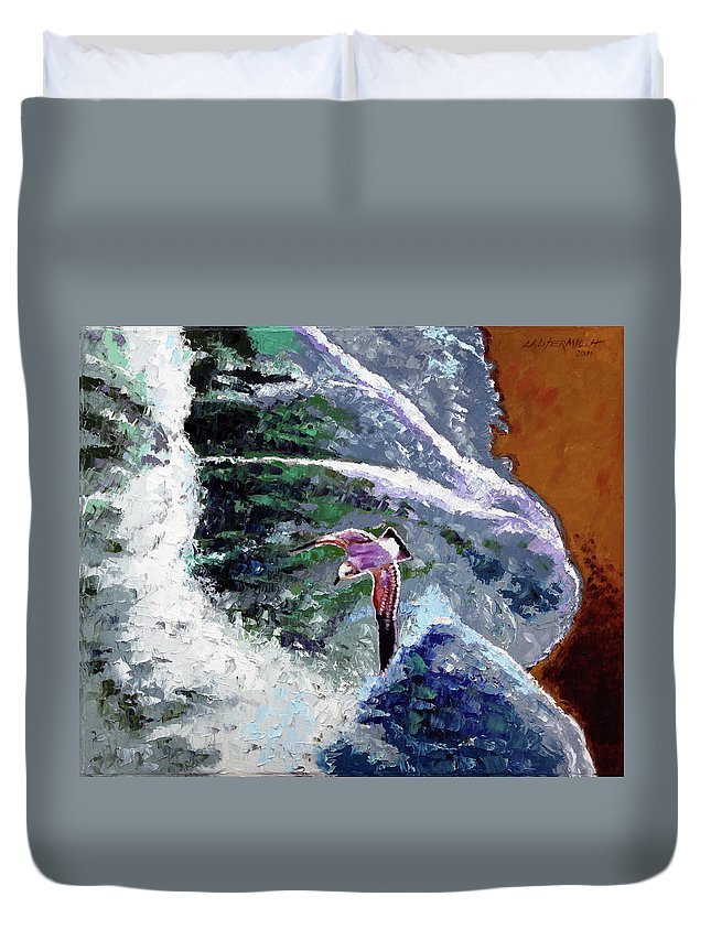 Ocean Waves Duvet Cover featuring the painting Waves Of Freedom by John Lautermilch