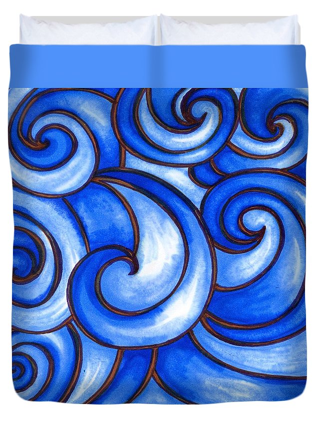 Water Duvet Cover featuring the painting Waves of Mercy by Vonda Drees