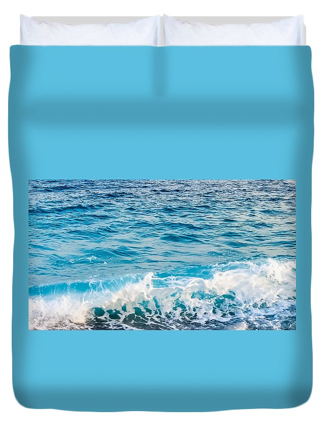 Europe Coastal Ocean Nature Landscape Water Waves French France Travel Duvet Cover featuring the photograph Waves Of Nice France by Jordan Whitehead