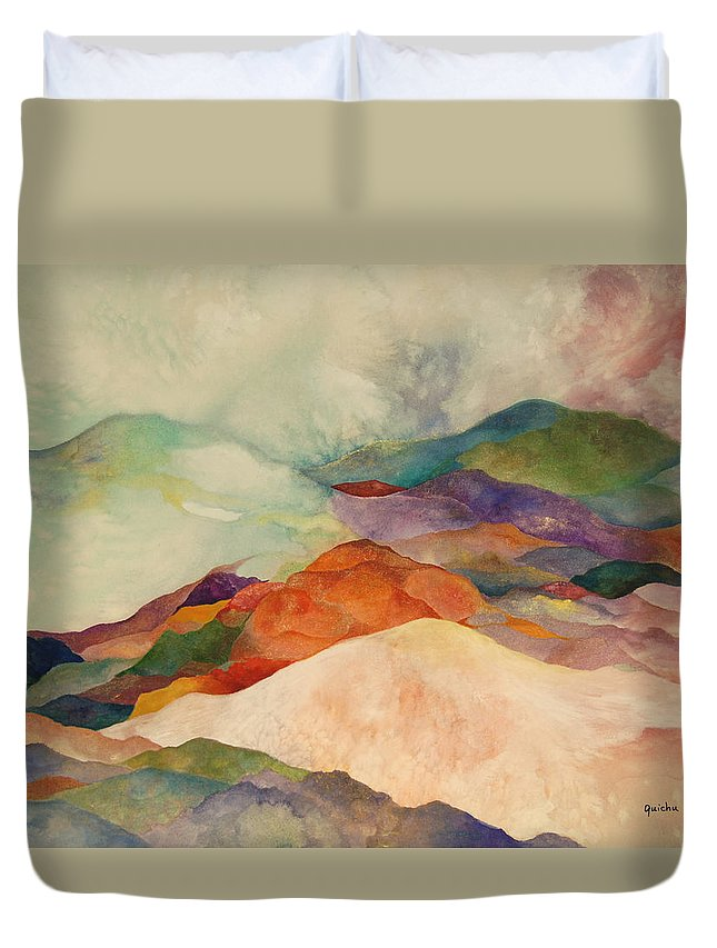 Watercolor Duvet Cover featuring the painting Waves by Peggy Guichu