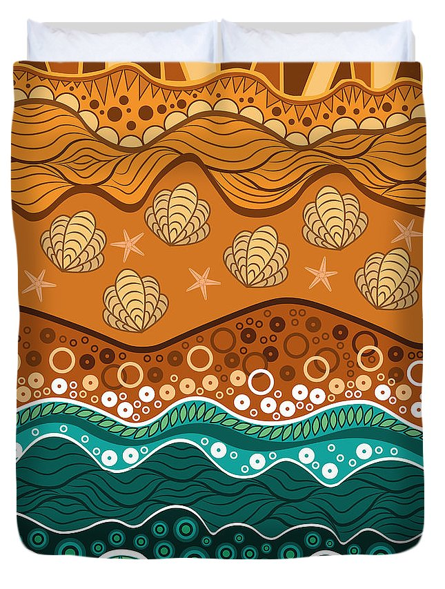 Water Duvet Cover featuring the digital art Waves by Veronica Kusjen
