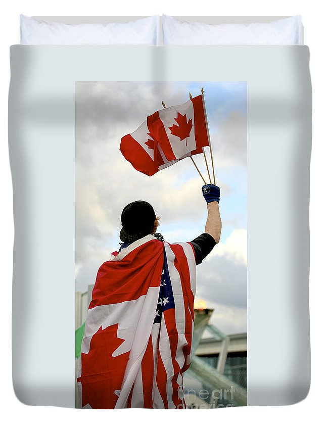 Canada Duvet Cover featuring the photograph Waving The Flag by Chris Dutton