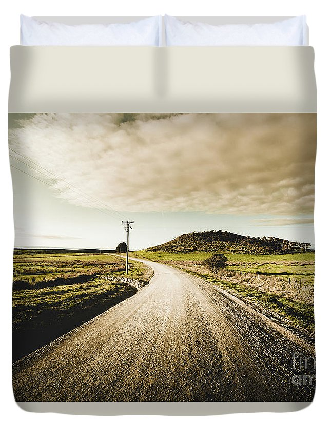 Road Duvet Cover featuring the photograph Way Out Yonder by Jorgo Photography - Wall Art Gallery