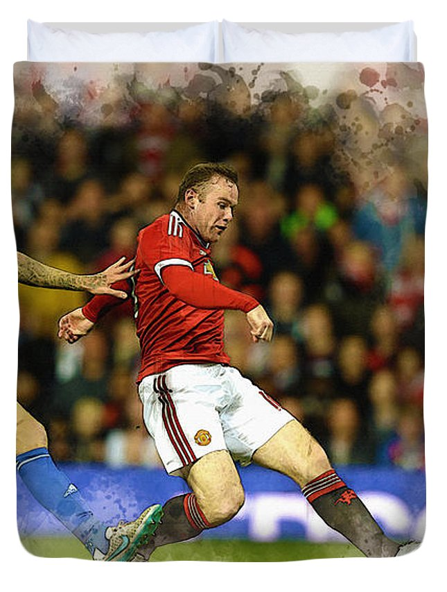Uefa Chamipons League Duvet Cover featuring the digital art Wayne Rooney Of Manchester United Scores by Don Kuing