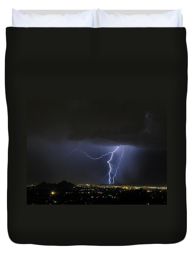 Lightning Duvet Cover featuring the photograph Wayward Sky by Cathy Franklin