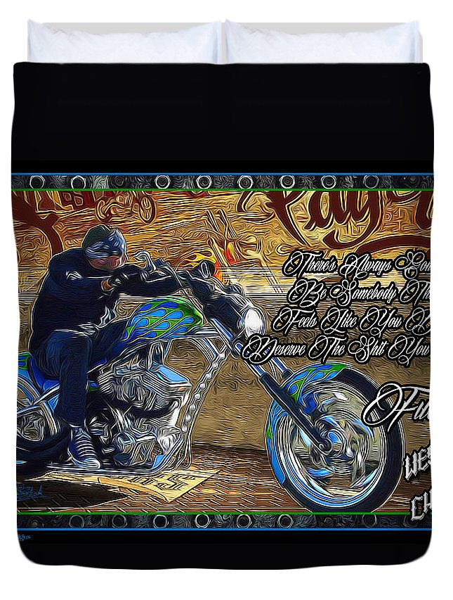 Duvet Cover featuring the digital art Wcc Pay Up by Michael Drake