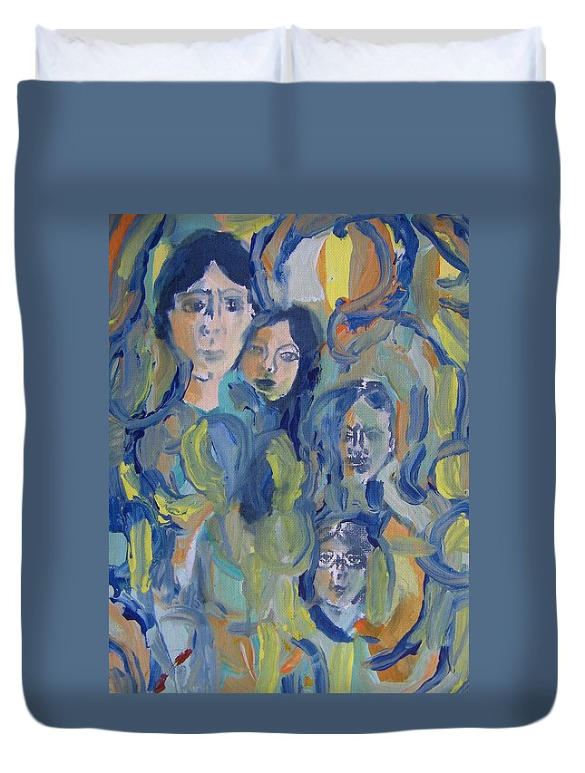 Abstract Duvet Cover featuring the painting We Are All Human by Judith Redman
