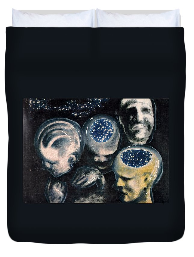 Universe Aura Thoughts Thinking Faces Mistery Duvet Cover featuring the mixed media We Are Universe by Veronica Jackson