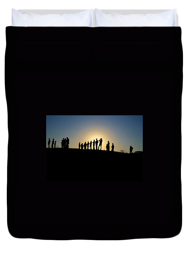 Silohuette Duvet Cover featuring the photograph We Are Waiting by Jerry McElroy