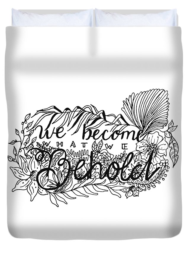 Tropical Duvet Cover featuring the drawing We Become by Jessica Mileur