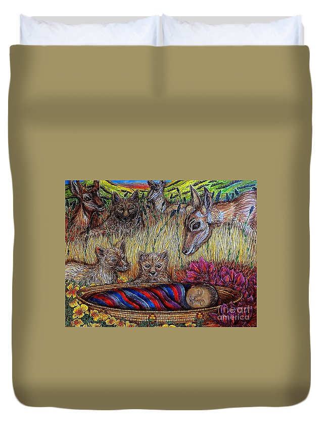 Animal Duvet Cover featuring the painting We Can Lay Down Together by Kim Jones