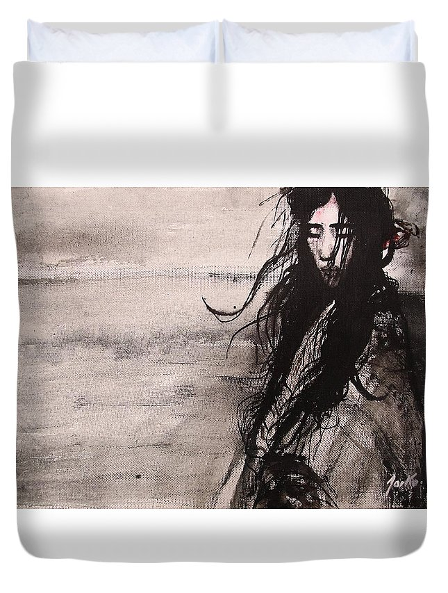 Portrait Art Duvet Cover featuring the painting We Dreamed Our Dreams by Jarmo Korhonen aka Jarko