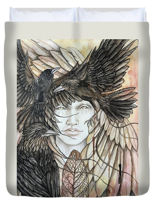 Crows Duvet Cover featuring the painting We Remember by Kimberly Kirk