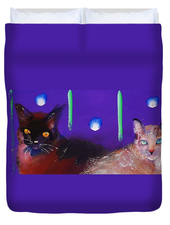 Cat Duvet Cover featuring the painting We Two Cats by Charles Stuart