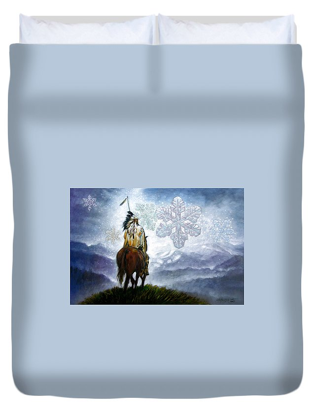 American Indian Duvet Cover featuring the painting We Vanish Like The Snow Flake by John Lautermilch