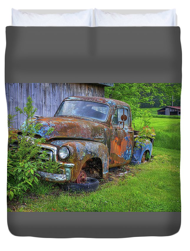 Reid Callaway Old Cars And Trucks Duvet Cover featuring the photograph Wears Valley 1954 Gmc Wears Valley Tennessee Art by Reid Callaway
