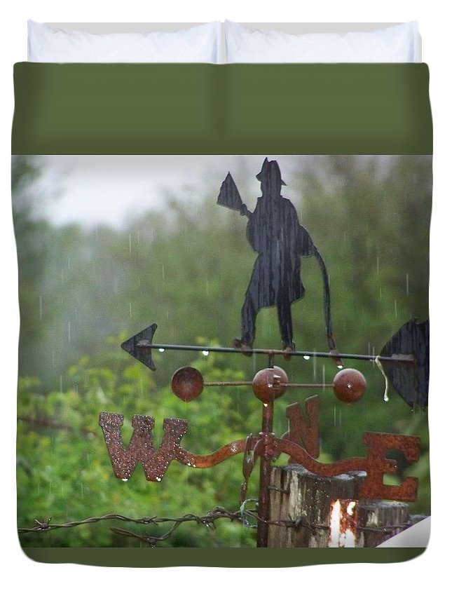 Digital Photography Duvet Cover featuring the photograph Weather Vane In The Rain by Laurie Kidd