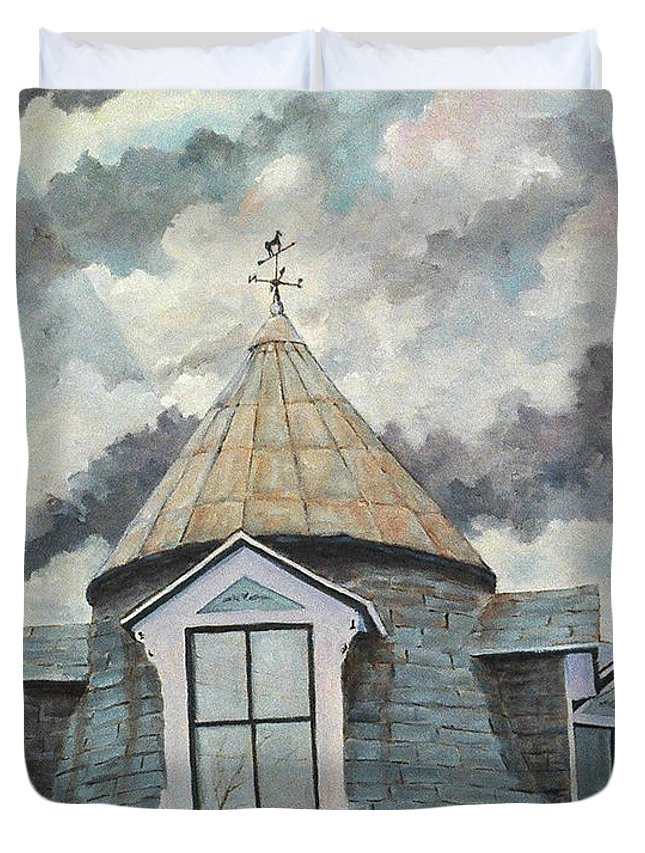 Urban Scene Duvet Cover featuring the painting Weather Vane by Richard T Pranke