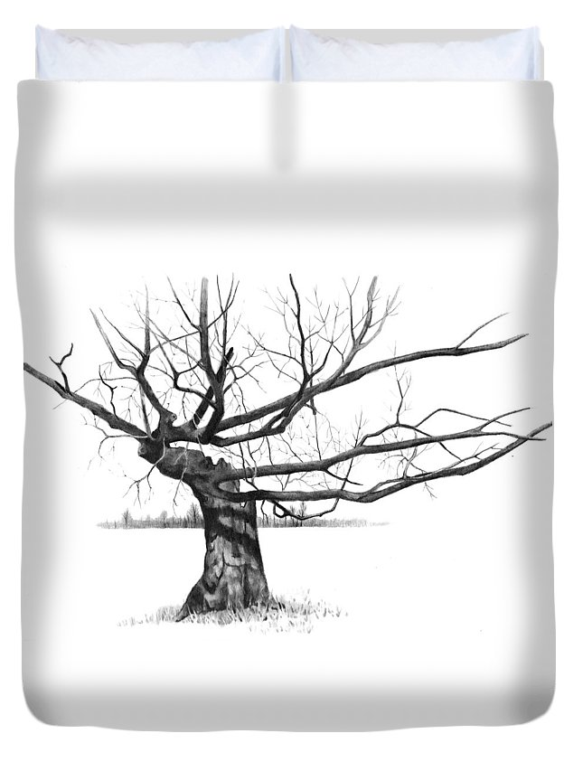 Tree Duvet Cover featuring the drawing Weathered Old Tree by Joyce Geleynse