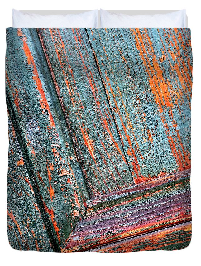 Colors Duvet Cover featuring the photograph Weathered Orange And Turquoise Door by Carol Groenen