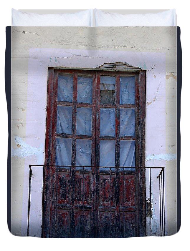 Door Duvet Cover featuring the photograph Weathered Red Wood Door by Robert Hamm