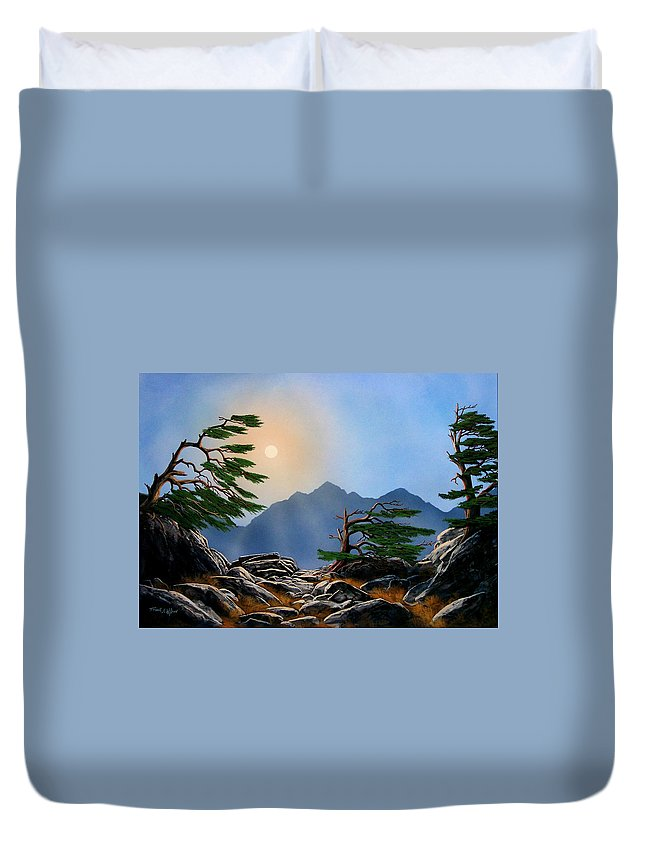 Weathered Warriors Duvet Cover featuring the painting Weathered Warriors by Frank Wilson