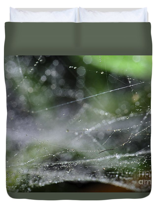 Spiderweb Duvet Cover featuring the photograph Web After Rain 2 by Angelo DeVal
