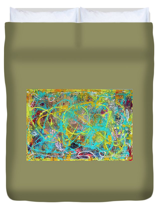 Spider Web Duvet Cover featuring the painting Web Of The Spider by Dawn Hough Sebaugh