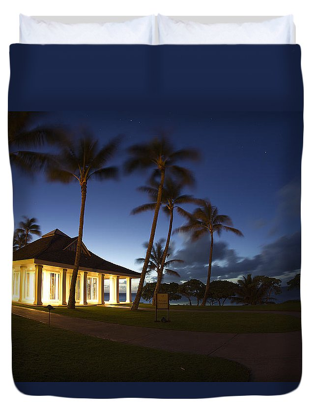 Sea Duvet Cover featuring the photograph Wedding Chapel At Turtle Bar Resort by Michael Sangiolo
