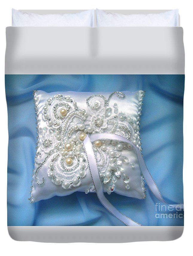 Wedding Accessory Duvet Cover featuring the photograph Wedding Ring Pillow. Ameynra Beadwork by Sofia Metal Queen
