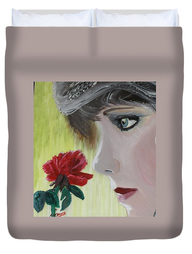 Romance Duvet Cover featuring the painting Wedding Rose by J Bauer