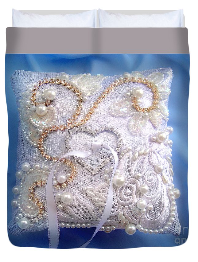 Wedding Accessory Duvet Cover featuring the photograph Weding Ring Pillow. Ameynra Design by Sofia Metal Queen