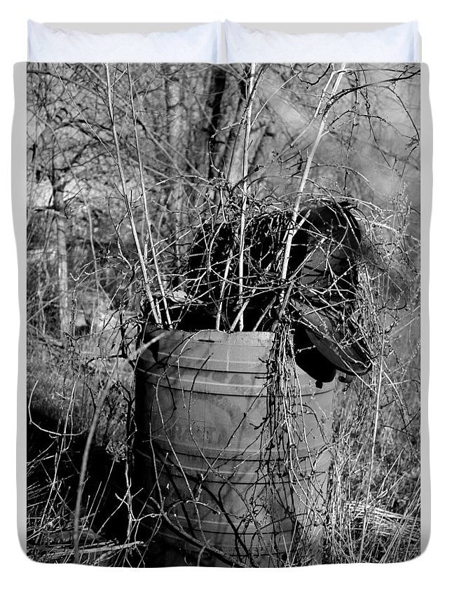 Mailbox Duvet Cover featuring the photograph Weed Covered Mailbox by Monique Flint