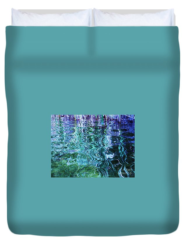 Photograph Blue Green Weed Shadow Lake Water Duvet Cover featuring the photograph Weed Shadows by Seon-Jeong Kim