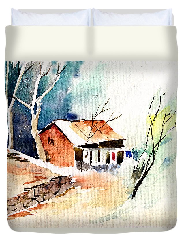 Nature Duvet Cover featuring the painting Weekend House by Anil Nene