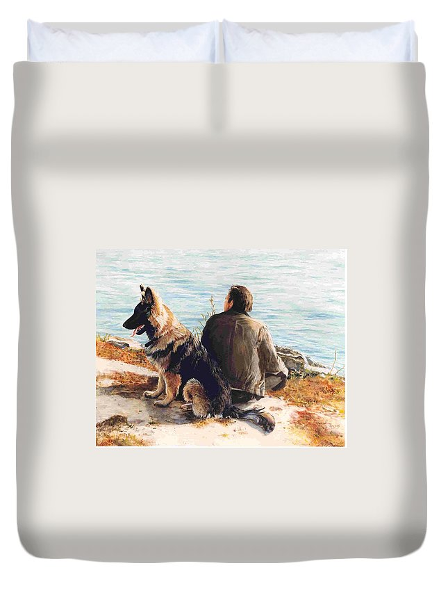 Man And Dog Duvet Cover featuring the painting Weekends by Janet Lavida