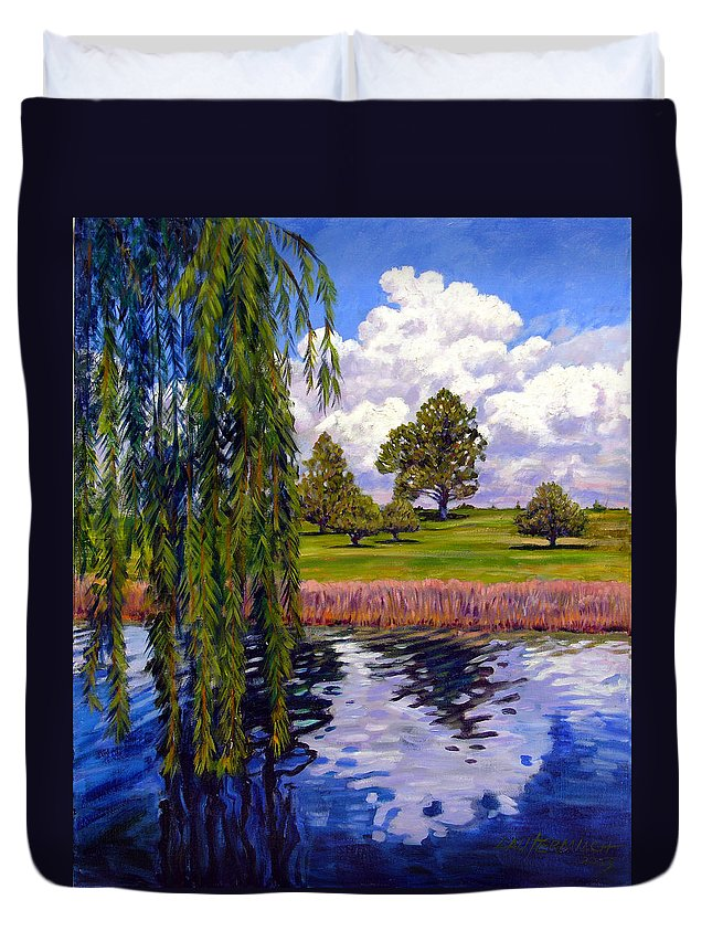 Landscape Duvet Cover featuring the painting Weeping Willow - Brush Colorado by John Lautermilch