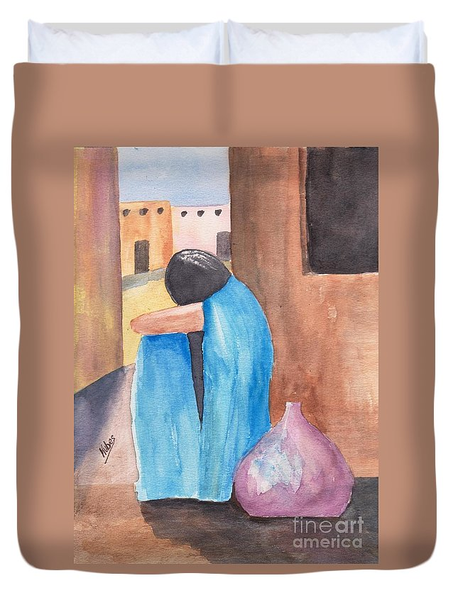Southwest Duvet Cover featuring the painting Weeping Woman by Susan Kubes