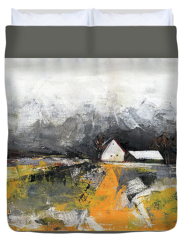 Landscape Duvet Cover featuring the painting Welcome Home by Aniko Hencz