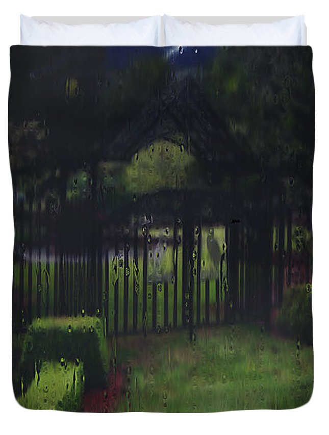 Landscape Duvet Cover featuring the painting Welcome To Dudleytown by RC DeWinter
