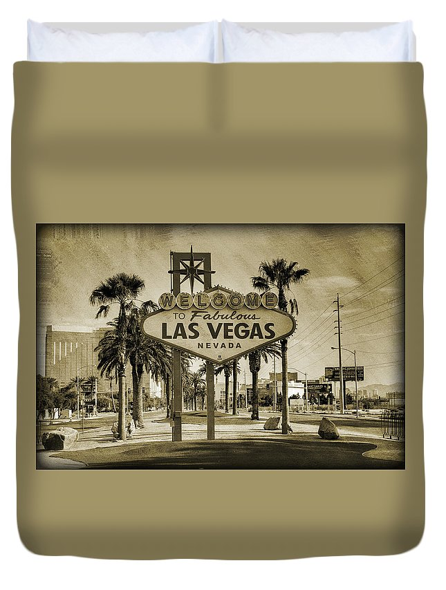 Las Duvet Cover featuring the photograph Welcome To Las Vegas Series Sepia Grunge by Ricky Barnard