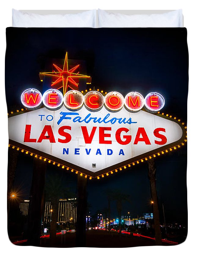 Casino Duvet Cover featuring the photograph Welcome To Las Vegas by Steve Gadomski