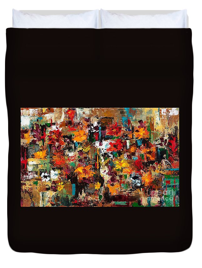 Abstract Flowers Duvet Cover featuring the painting Welcome To My Flower Garden by Frances Marino